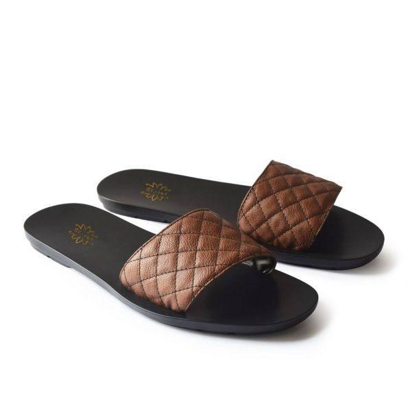 Brown Quilted Mules
