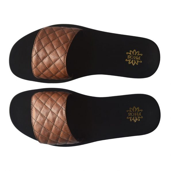 Brown Quilted Slides