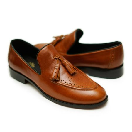Crosta Tan Leather Loafers